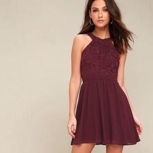 Burgundy Halter Dress